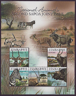 Zimbabwe 2007 SAPOA National Animals Mini-Sheet, MNH