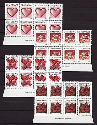 Zimbabwe 2008 Valentines Imprint Blocks, MNH (sheet margin)
