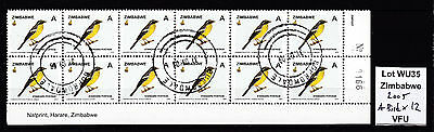 Zimbabwe 2005 Birds A-value in Block of 12 (sheet number), VFU (WU35)