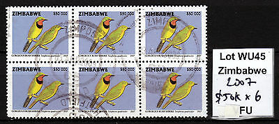 Zimbabwe 2007 Birds $50,000 value in Block of 6, FU (WU45)