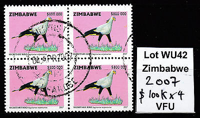 Zimbabwe 2007 Birds $100,000 top value in Block of 4, VFU (WU42)