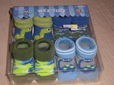 New Baby Boy's socks 4 pairs, by WEE TOTS, in 0-12 months