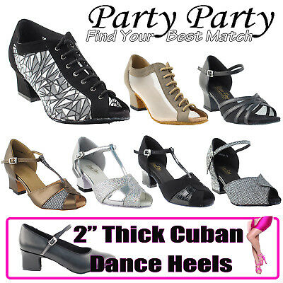 "~50 SHADES of 2"" Thick Cuban Heel Dance Dress Shoes Collections-I by Party Party"