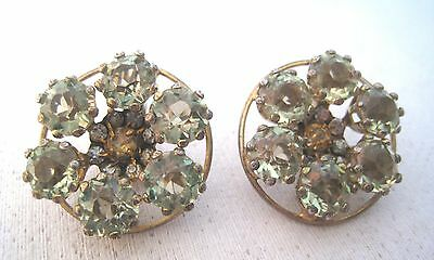 Art Deco Sterling Peridot & Citrine Colored Crystal Cluster Clip Earrings