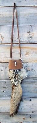 Hand Made  Beaded Coyote Fur Pouch Rendezvous Black Powder Mountain Man