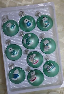 Westie Xmas Ornaments: 10 small minty satin with silver and peacock blue trim