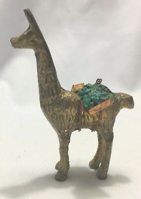 Vintage Brass Llama w/ Turquoise in Copper Back Pack Figurine