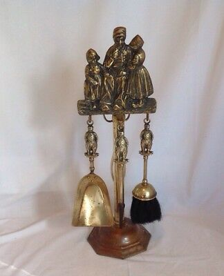 Antique Mini Small Cast Brass Figural Dutch Boy Girl Fireplace Wood Stove Tools