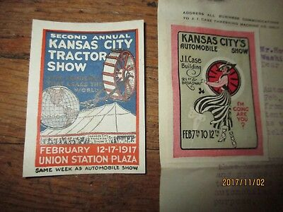 TWO Original Stickers from 1916 1917 Kansas City Tractor JI Case Letter Auto Sho