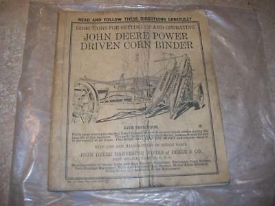 Antique John Deere 1935 Tractor Corn Binder Manual. RARE