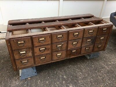 SOLID WOOD 18 DRAWER ANTIQUE LIBRARY CARD CATALOG! WOODEN VINTAGE EARLY 1900s