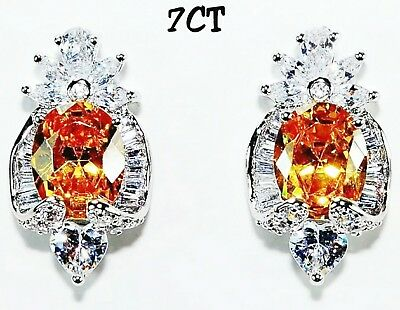 7CT Yellow Sapphire & Topaz 925 Solid Genuine Sterling Silver Earrings Jewelry