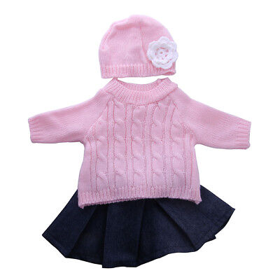 """Pink Sweater Pleated Skirt Hat Top Outfit Clothes for 18"""" American Girl Doll"""