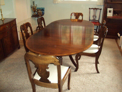 Antique Mahogany Baker Dining Room Table w/8 chairs, 3 leaves, pad. by Baker