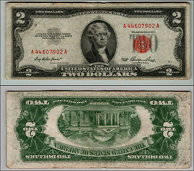 1953 $2 Dollar Bil Us Note Legal Tender Paper Money Currency Red Seal W325