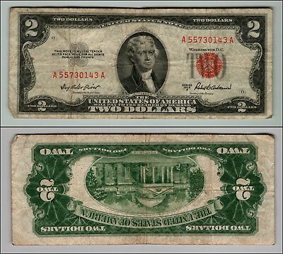 1953 $2 Dollar Bil Us Note Legal Tender Paper Money Currency Red Seal W331