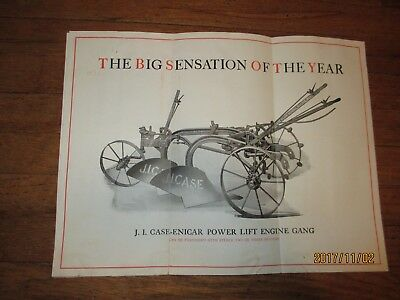 Original 1914 JI Case Enicar Power Lift Plow Brochure