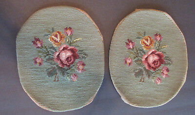 """Vintage 2 Needlepoint Rose Tapestry Covers Use on Small Foot Stool Oval 29.5"""""""