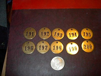 10 Vintage Brass Number Tags Cow Dairy Farm Collector Art Project, Locker  #15