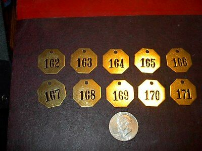 10 Vintage Brass Number Tags Cow Dairy Farm Collector Art Project, Locker  #18
