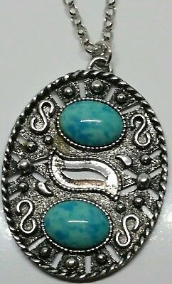 Vintage silver tone chain with turquoise stone pendant necklace. Sarah Coventry.