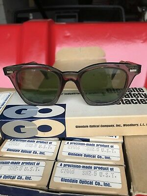 Glensite Vintage Safety Glasses. Green tint. Brand New, old stock from 60's-70's