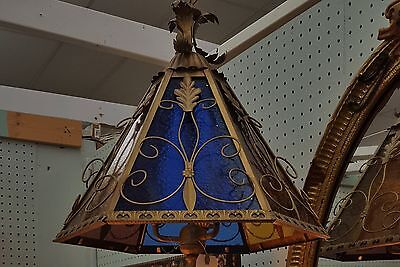 Ornate Vintage French Italian Tole Stained Glass Pendant Lantern Chandelier