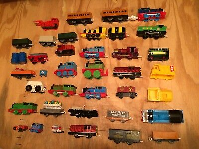 Lot Of 38 Thomas The Train  Cars / Locomotives / Parts,  Battery / Wind Up