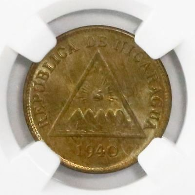 Nicaragua, copper 1 centavo, 1940, encapsulated NGC MS 66 BN, finest known