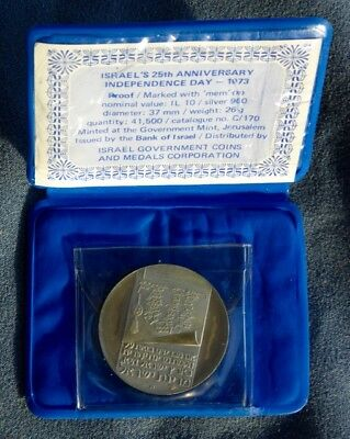 Israel  25th Anniversary Independence Day silver coin w/ documentation, case