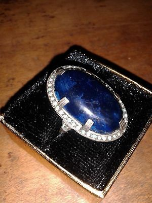 Gorgeous Vintage Sterling Marked Ring with Lapis Green Clear Stones Size 6