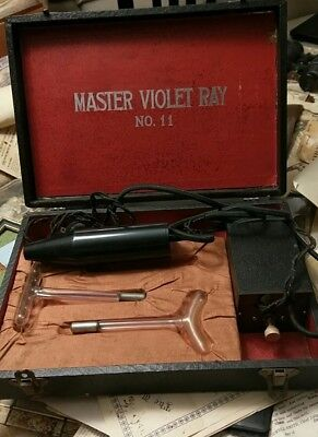 Antique Master Violet Ray 11 Quack Static Electricity Quack Device Works Complet