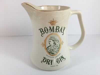 Vintage Bombay Dry Gin Collectible Ceramic Pitcher - Made In England