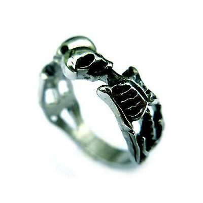 316L Stainless Steel Skull Skeleton Punk Halloween Biker Motorcycle Ring