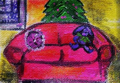 Christmas Tree Pink Couch Purple Bunny ACEO Original Painting onCanvas