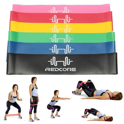 Set of 6 Resistance Exercise Loop Bands Yoga Pilates Fitness Natural Latex UK
