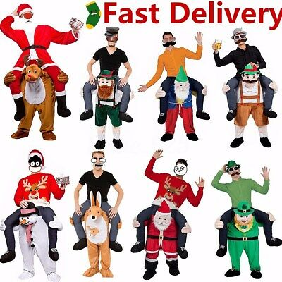 US Carry Me Piggy Back Ride On Mascot Dress Party Costume Santa Claus Christmas