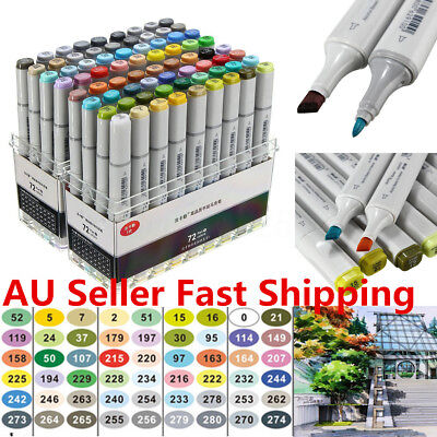 72X Colorful Dual Copic Sketch Markers Set Artist Fine Nibs Twin Tip Board Pen !