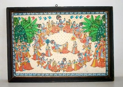 1900's Indian Antique Old Artist Hand Miniature Painting Of Krishna Raas Leela