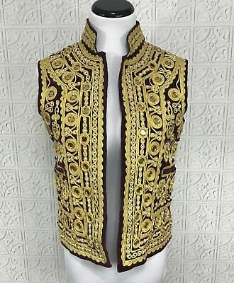 Velvet Vest Embroidered Gold Ethnic Costume Shiny Mirror Beads Pearls Red Maroon