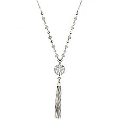 Women Pendant Necklace Silver Drop Tassel Crystal Bead Strand Long Chain Jewelry
