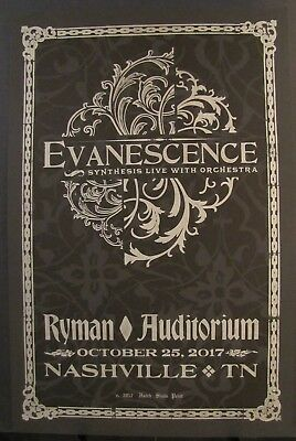 Evanescence Ryman Nashville TN Hatch Show Print Poster October 25, 2017 SOLD OUT