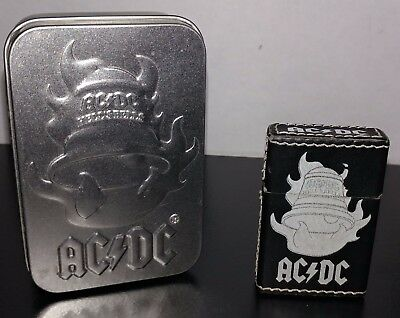 AC/DC Hells Bells ROCK BAND BLACK LEATHER CIGARETTE LIGHTER/ TORCH With Tin