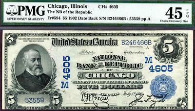 HGR WEDNESDAY 1902 $5 DATE BACK ((RARE ONLY 11 Known)) PMG XF-45EPQ