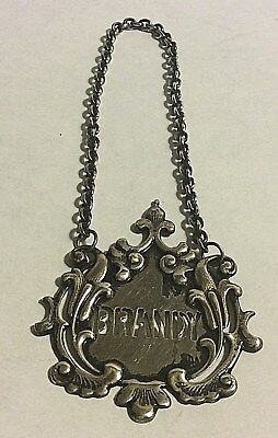 Antique Brandy Decanter Hanging Bottle Label by Tiffany & Co. Sterling Silver
