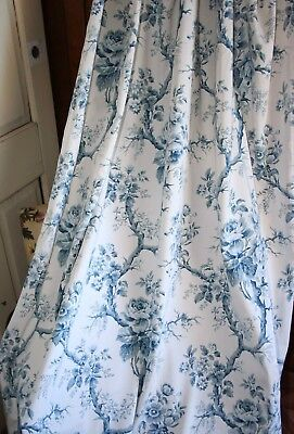 Pair of Genuine Vintage Retro Floral Sanderson Blue and White Fabric Curtains