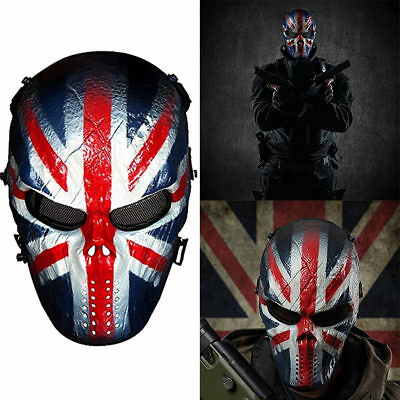 Unisex Skull Ghost Full Face Metal Mesh Eye Masks Cosplay Master Airsoft Mask AU