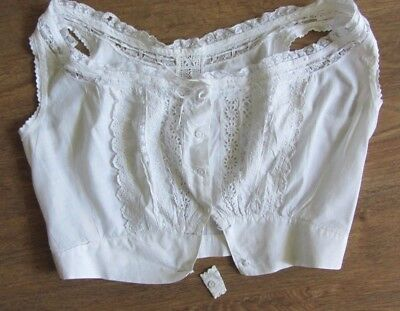 VINTAGE EARLY 1900's WHITE EYELET AND LACE CAMISOLE