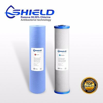 """20"""" x 4.5"""" Whole House Big Blue Water Filter Cartridges  Antibacterial Pack"""