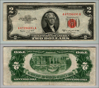 1953B $2 Dollar Bill Old Us Note Legal Tender Paper Money Currency Red Seal W399